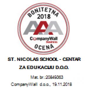 ST NICOLAS SCHOOL – Centar za edukaciju d.o.o. dobio sertifikat AAA